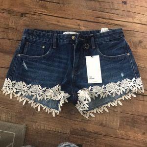 Zara Shorts - Zara floral lace denim shorts